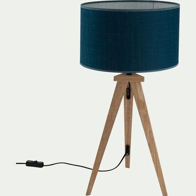 Lampe à poser en bois - bleu figuerolles-TRIX