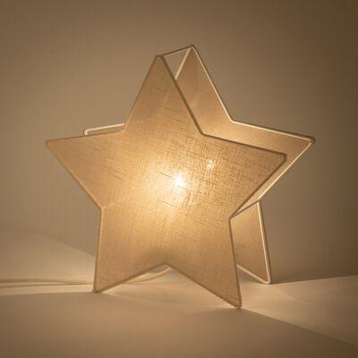 Lampe à poser forme étoile en lin - blanc H30cm-Stella