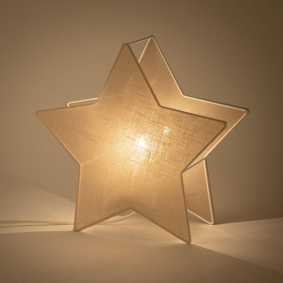 Veilleuse étoile en lin - blanc H30cm-Stella