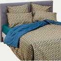 Housse de couette en percale de coton - bleu figuerolles 240x220cm-LIVIA