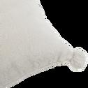 Coussin gris borie 40x40cm avec pompons pour enfant-ISABY