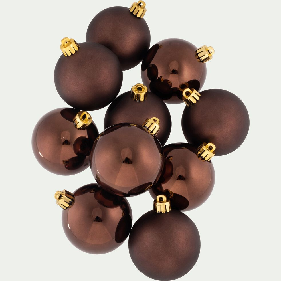 10 boules de Noël en plastique chocolat D6cm-BAUS