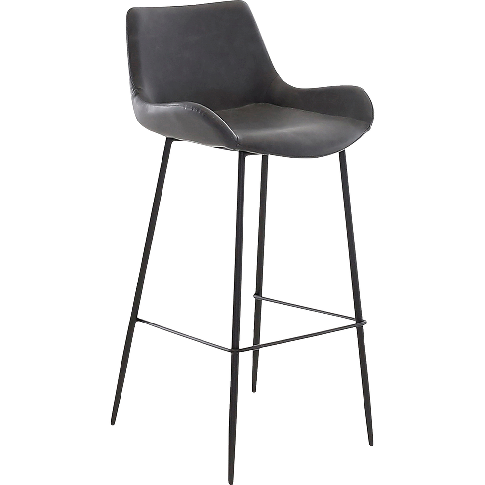 Chaise de bar en simili gris - H75cm-GEDEON