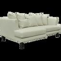 Canapé 3 places fixe gauche en cuir beige roucas-TESSOUN