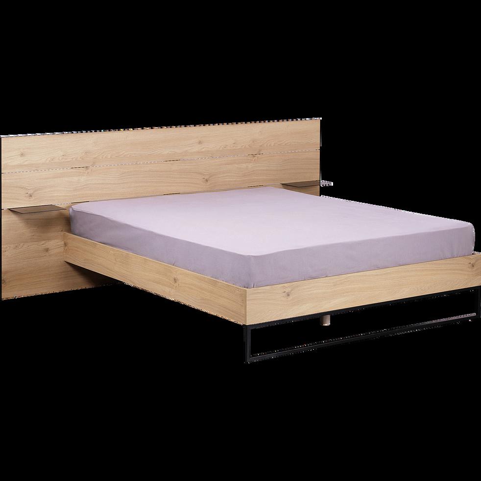 Lit 2 places bois et métal Noir avec tête de lit/chevet - 160x200cm-GASPARD