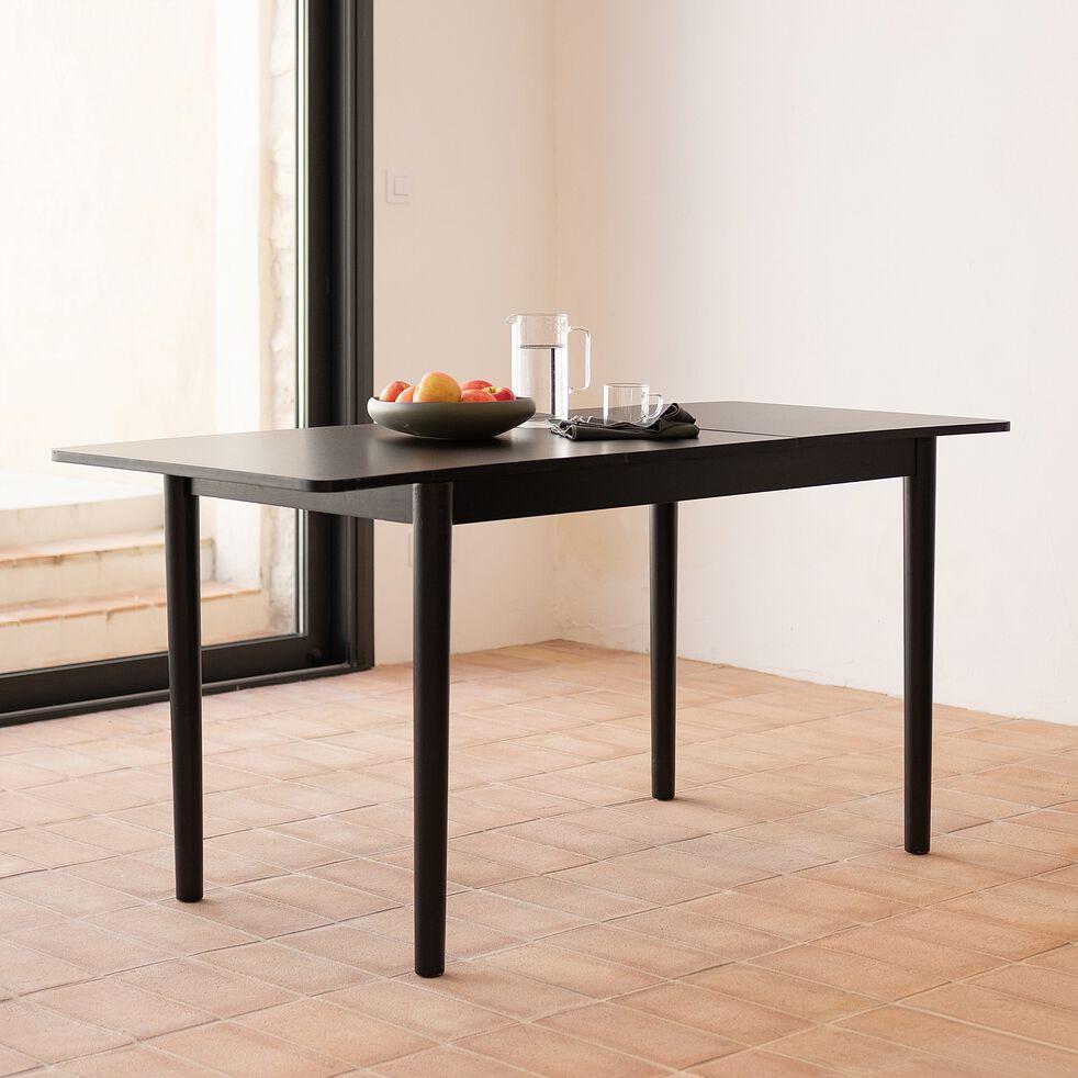 Table de repas extensible en bois  - noir  (4 à 6 places)-PEDRO