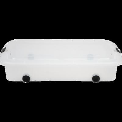 Boîte transparente en plastique avec couvercle et roulettes 60L-MODULAR