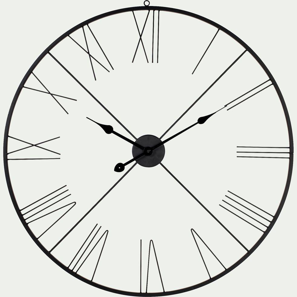 Horloge murale en fer noir D80cm-ROMANE