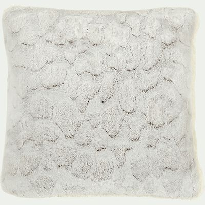 Coussin imitation fourrure en polyester - gris clair 40x40cm-Sofy