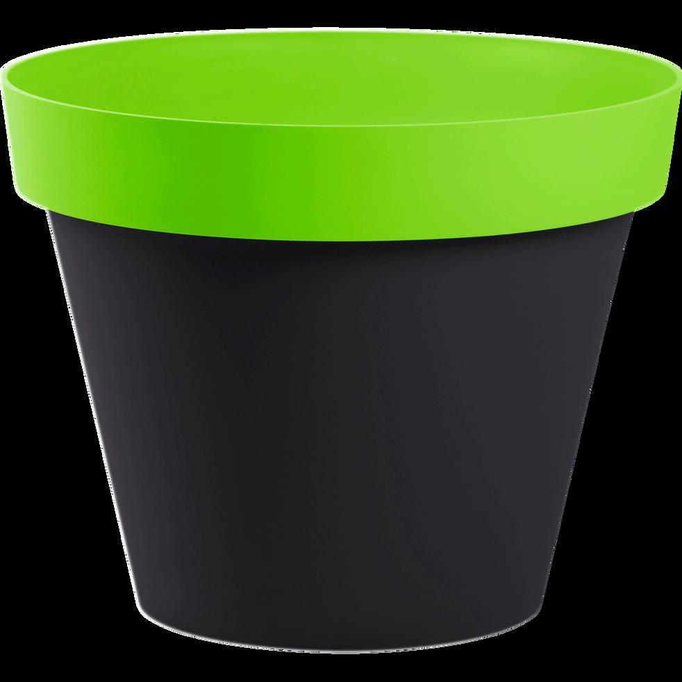 Cache-pot gris et vert en plastique H40xD48cm-STYLE