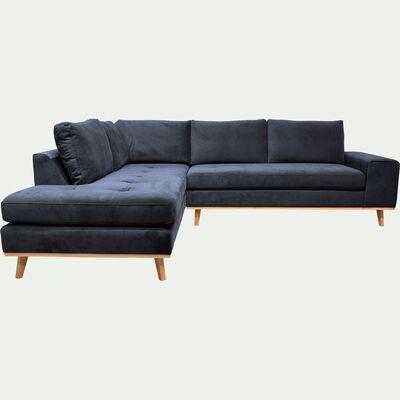 Canapé d'angle fixe gauche en velours - bleu céou-PICABIA