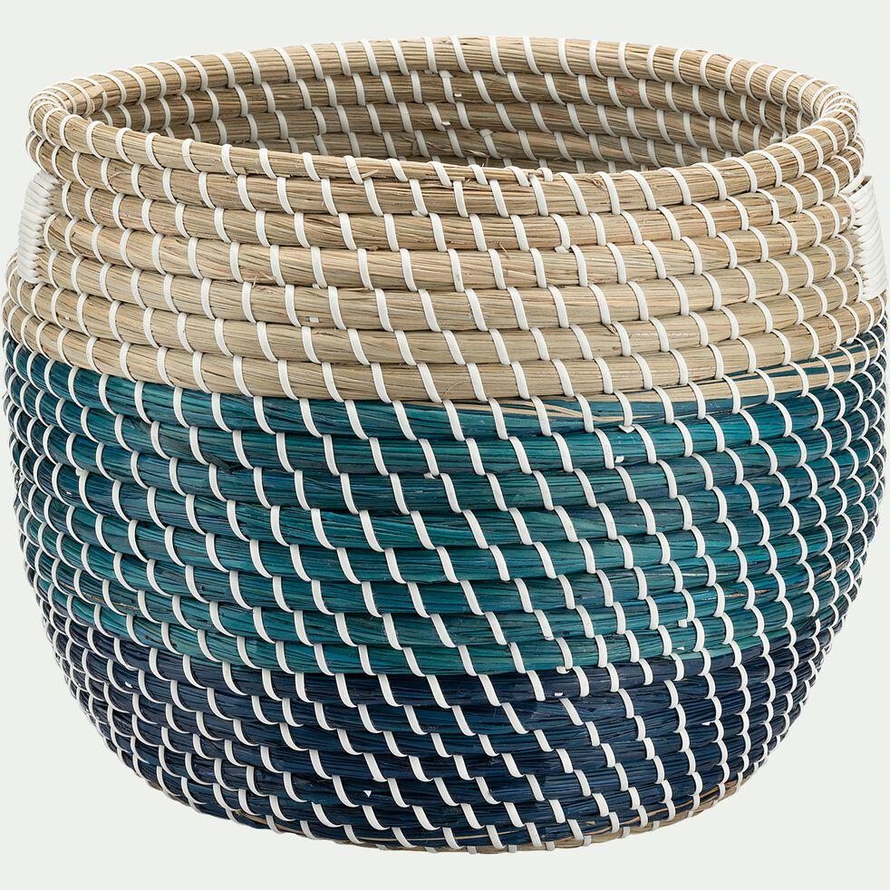 Panier à linge en jonc de mer - naturel et bleu H31xD36cm-SIMON