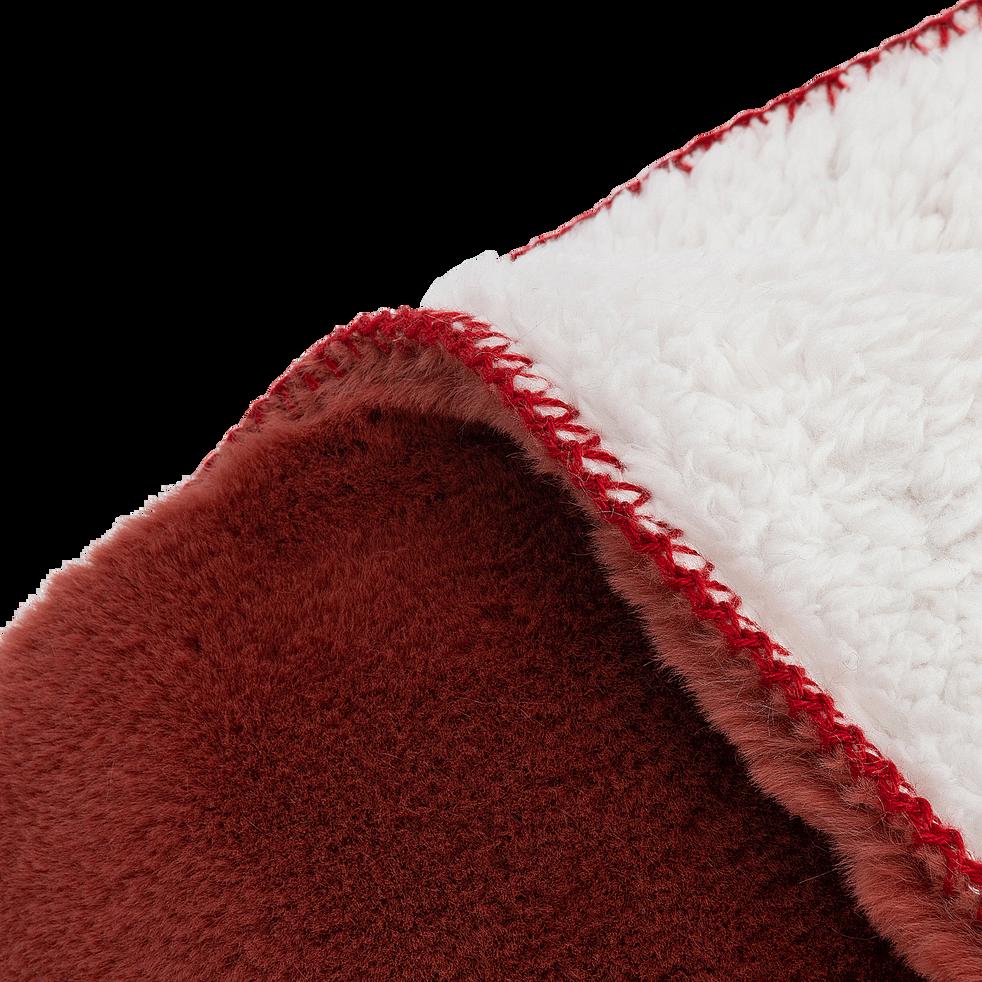 Plaid doux imitation fourrure - rouge ricin 130x170cm-MARIUS
