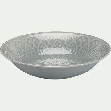 Assiette creuse en faïence - D24cm gris borie-POUDHA