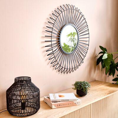 Miroir soleil en métal - noir D80cm-LOIS
