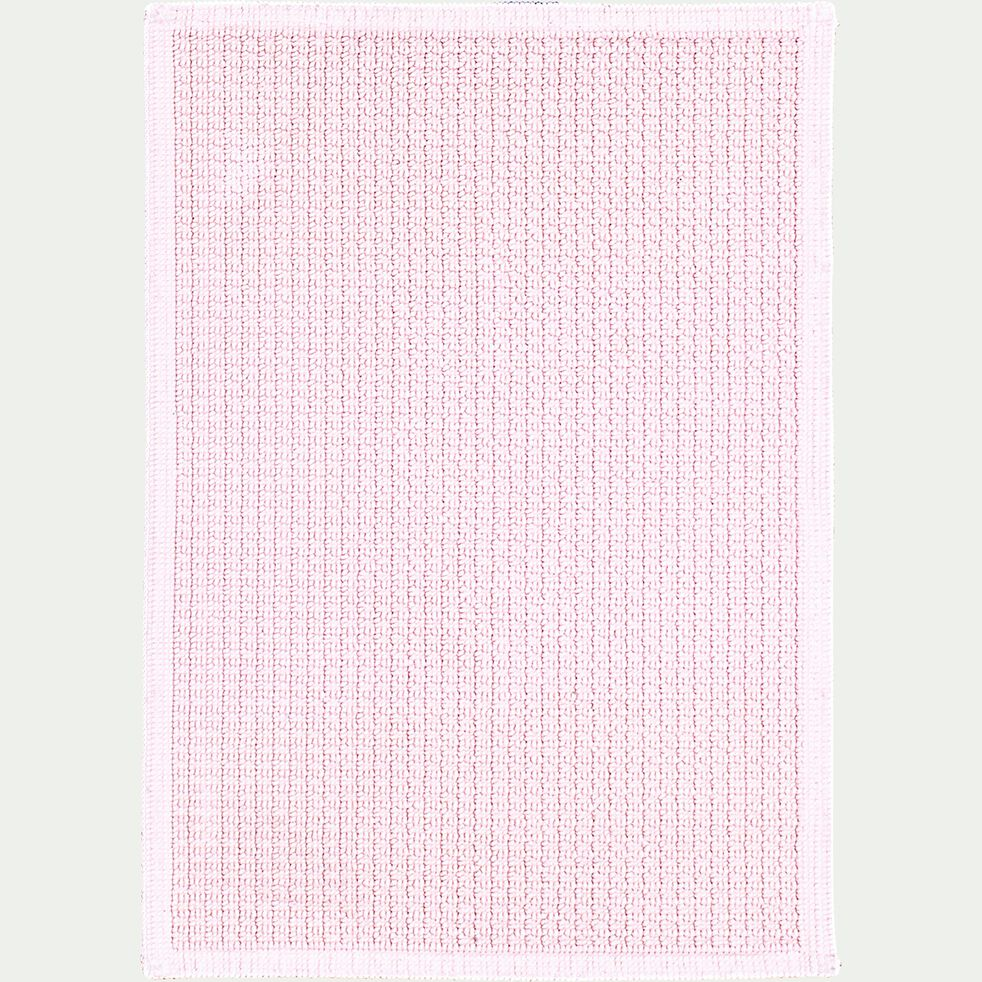 Tapis de bain en coton jacquard - l50xL70cm rose simos-Escapade