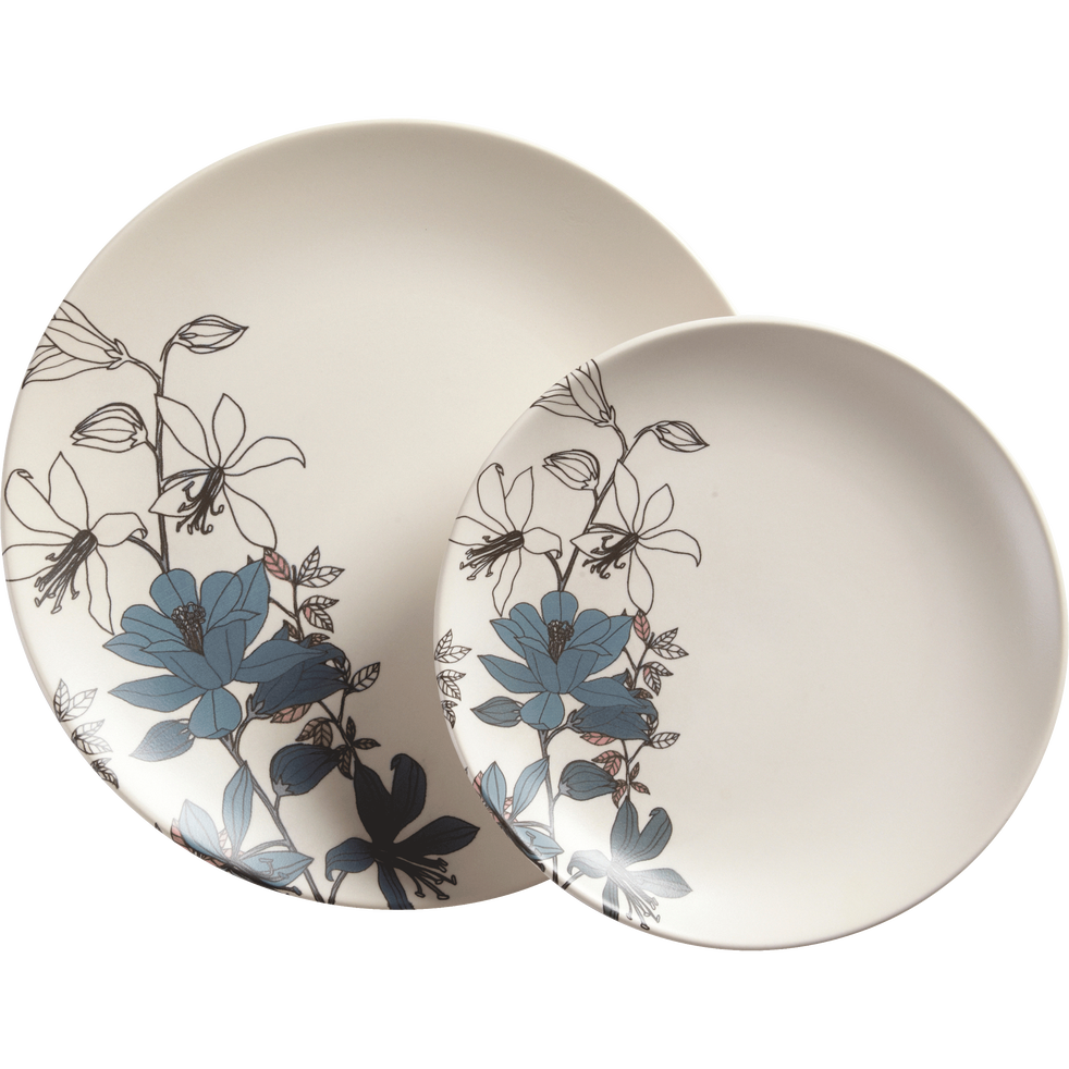 assiette plate en gr s blanc d cor d25cm pollen assiettes plates alinea. Black Bedroom Furniture Sets. Home Design Ideas