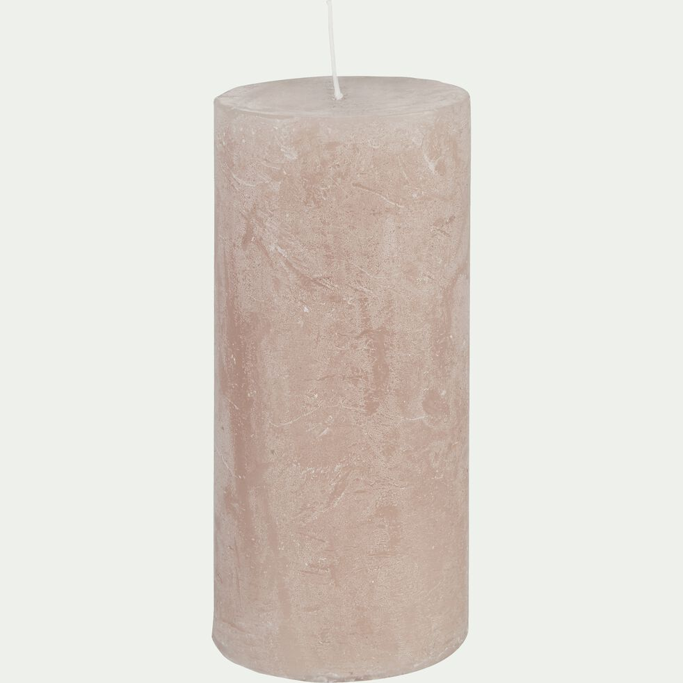 Bougie cylindrique - rose grège H15cm-BEJAIA