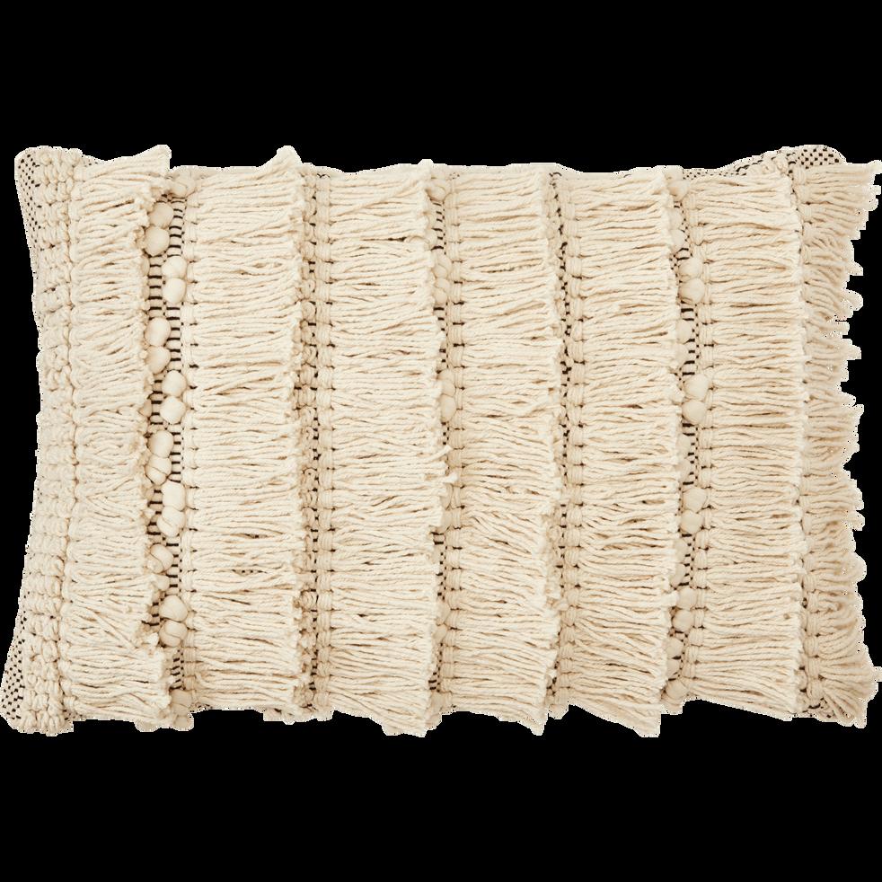 Coussin bohème en coton blanc et noir 40x60 cm-TEYSSIR
