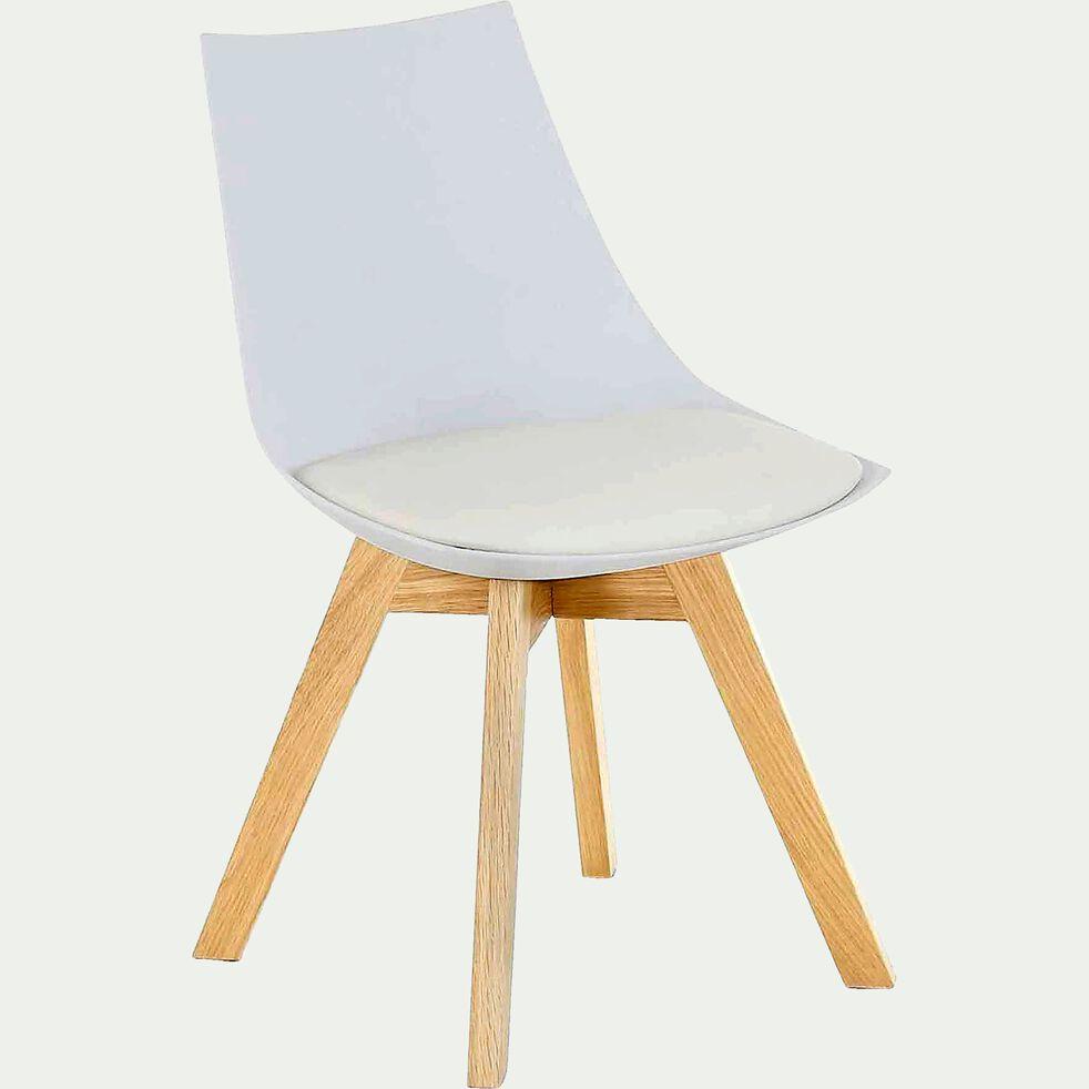 Chaise blanche avec piètement en bois-JOY