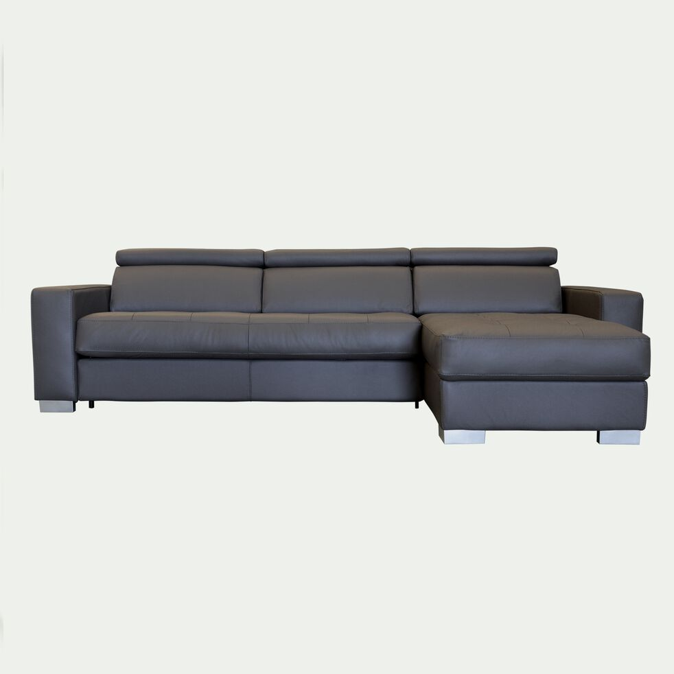 Canapé d'angle réversible convertible en cuir - taupe foncé-Mauro