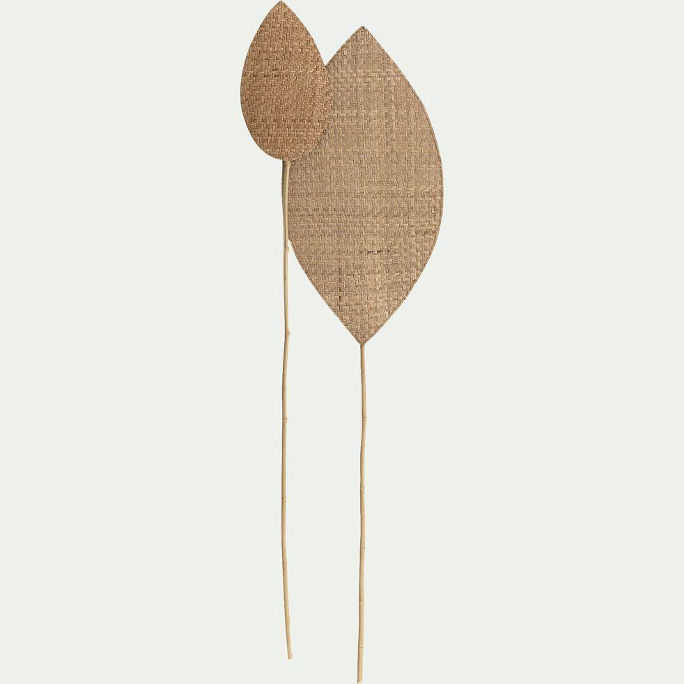 Feuille tressée en jonc de mer et bambou - naturel 20x143cm-HUESCA