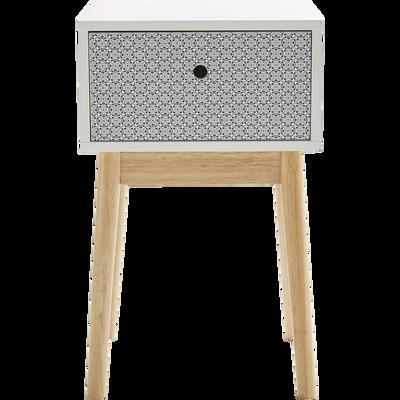 Table de chevet structure en hévéa massif blanche 1 tiroir carreaux bleus-GRAPHIC