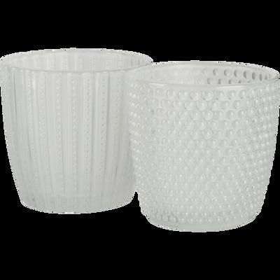 Lot de 2 photophores en verre Blanc H7,5 cm-PICCOLI