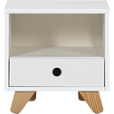 Table de chevet enfant en pin massif 1 tiroir et 1 niche Blanc-TIPI