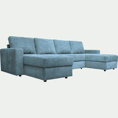 Canapé en U convertible en tissu - bleu figuerolles-HONORE