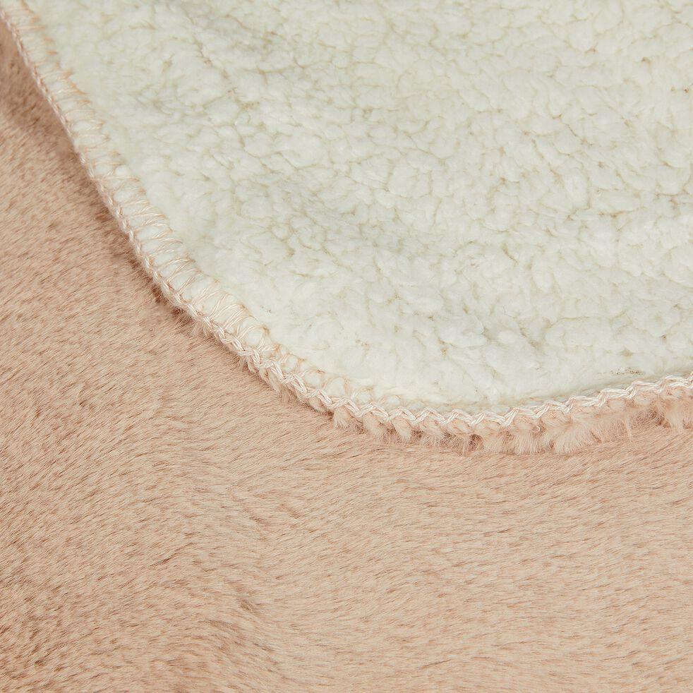 Plaid doux imitation fourrure - rose argile 180x220cm-MARIUS