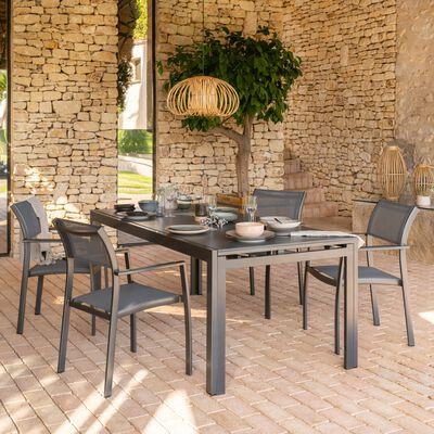 Ensemble table (8 à 12 places) en duraboard & chaise de jardin en aluminium et textilène