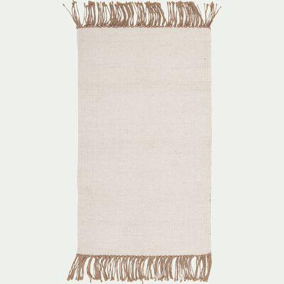 Tapis à franges en laine et jute - blanc 60x100cm-VICO