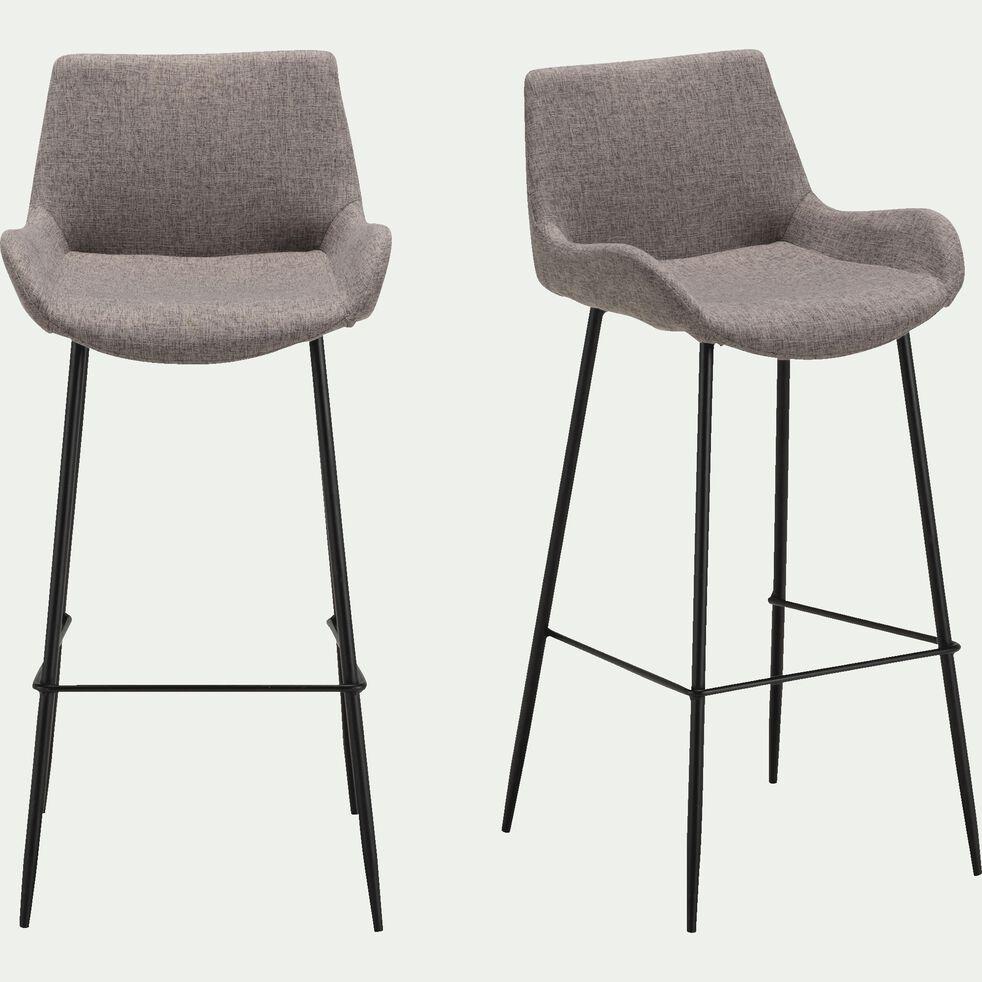 GEDEON - Chaise de bar en tissu gris anthracite - H6cm