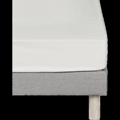 Drap housse en coton Blanc capelan 120x200cm-bonnet 15cm-CALANQUES