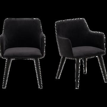 Chaise en tissu effet velours noir avec accoudoirs-GINETTE