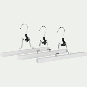 Lot de 3 cintres porte pantalon en bois de schima - blanc-Karl