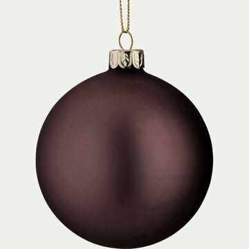 Boule de Noël en verre mat violet D8cm-ORFEO