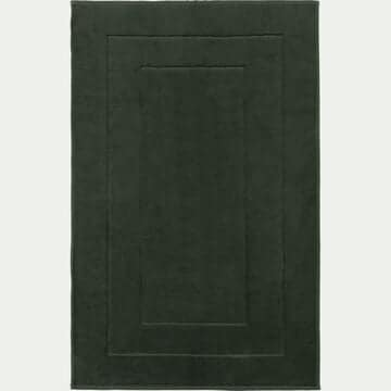 Tapis de bain en coton peigné - vert cèdre 60x110cm-AZUR