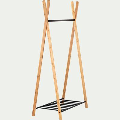 Penderie ouverte à 2 étagères en acier et bambou - noir-DORIAN
