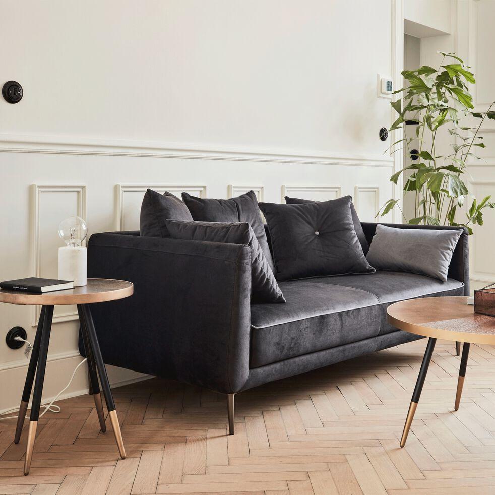 Canapé 3 places fixe en tissu - noir calabrun-ASTELLO