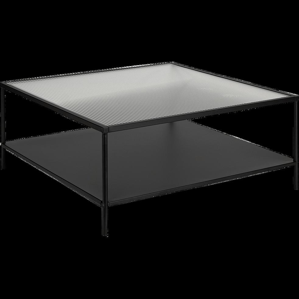VAREI - Table basse carrée en métal et en verre cannelé