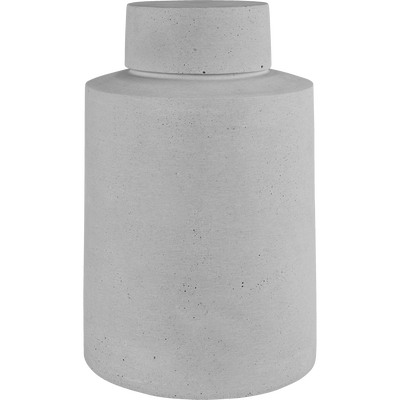 Vase avec couvercle effet béton H42cm-CALCIS
