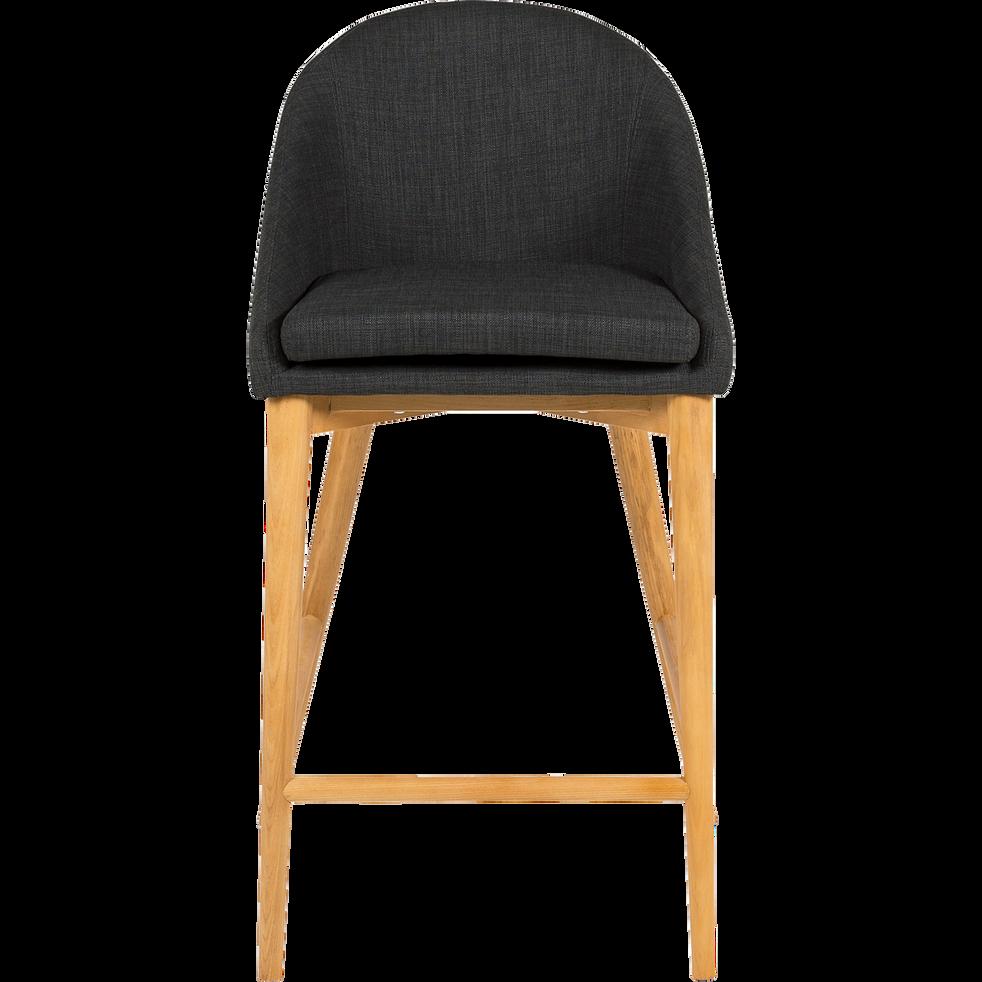 ABBY Chaise de bar en tissu gris foncé pieds bois H66cm