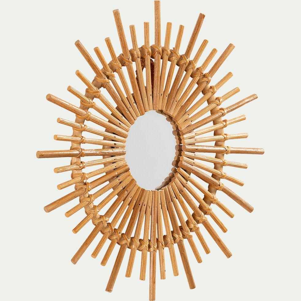 Miroir soleil en rotin D30cm naturel-SOLEA