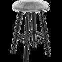 Tabouret de bar en velours gris borie - H66cm-AUGUSTIN