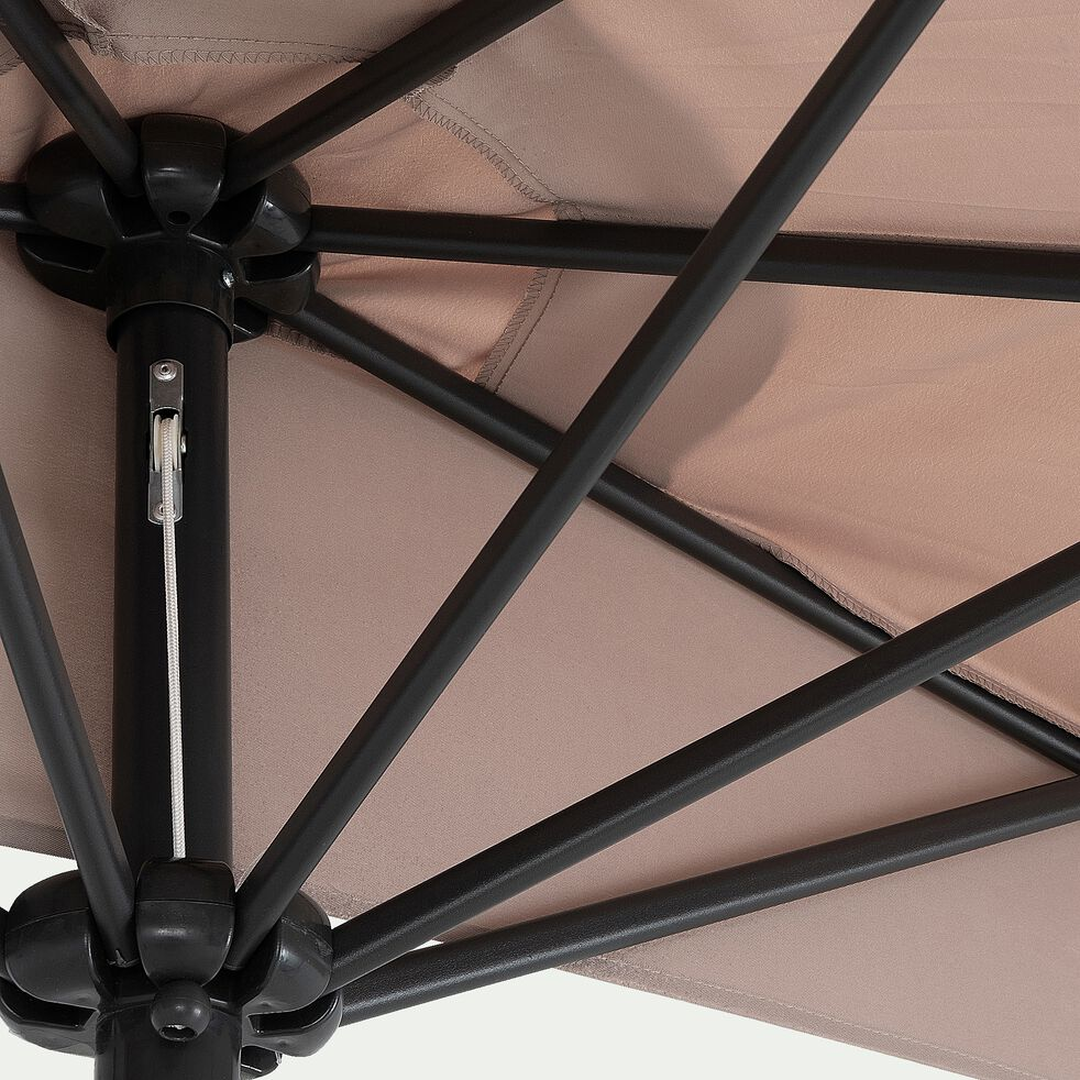 Demi-parasol avec manivelle - beige (petit modèle)-MONGEDO
