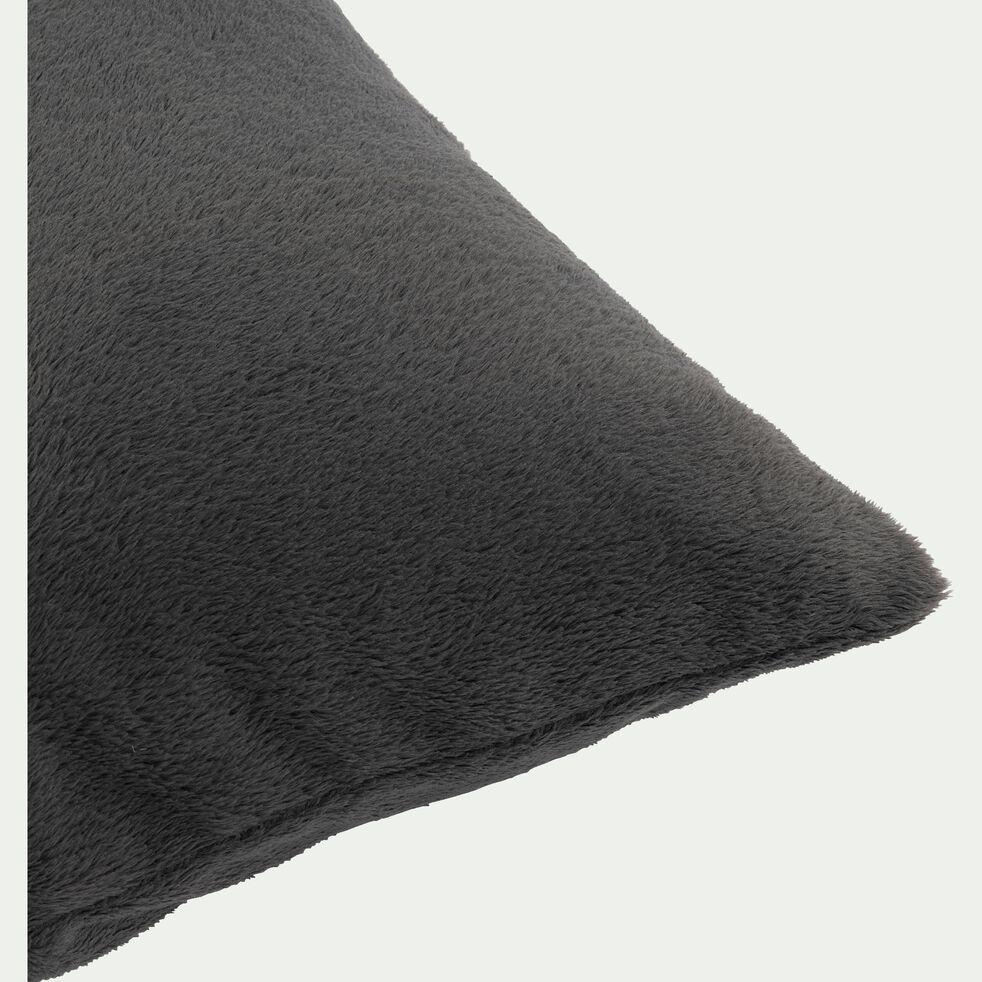 Housse de coussin effet polaire en polyester - gris ardoise 65x65cm-ROBIN