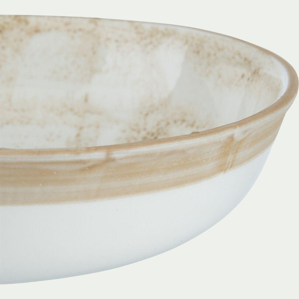 Assiette creuse en faïence bicolore - marron D19cm-MURZU