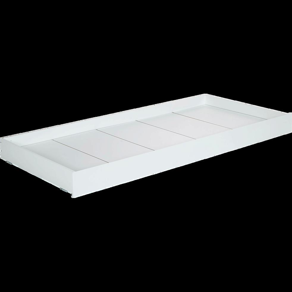 Tiroir de lit à roulettes en dérivés de bois Blanc-TIPI